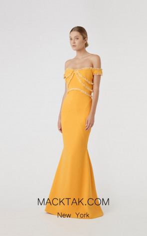 Rachel Gilbert RG60593 Mustard Front Evening Dress