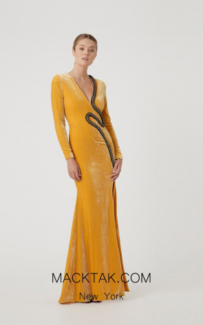 Rachel Gilbert RG60595 Mustard Front Evening Dress