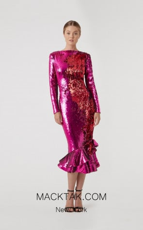 Rachel Gilbert RG60601 Magenta Front Evening Dress