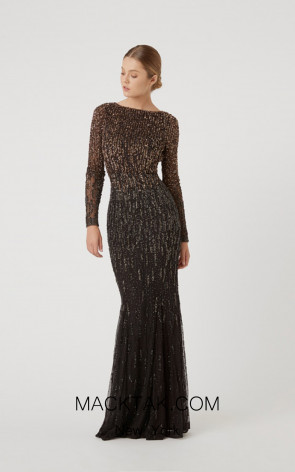 Rachel Gilbert RG60607 Black Front Evening Dress
