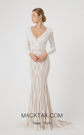 Rachel Gilbert RG60626 Ivory Front Evening Dress