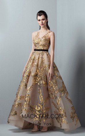 Saiid Kobeisy RE3359 Gold Front Evening Dress
