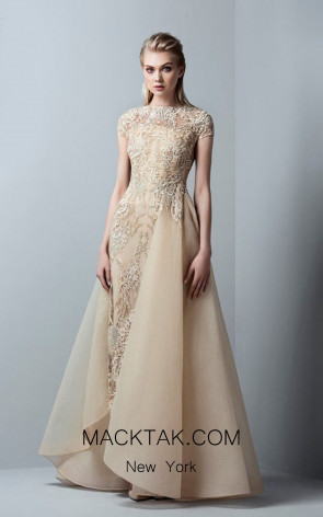 Saiid Kobeisy RE3360 Gold Front Evening Dress