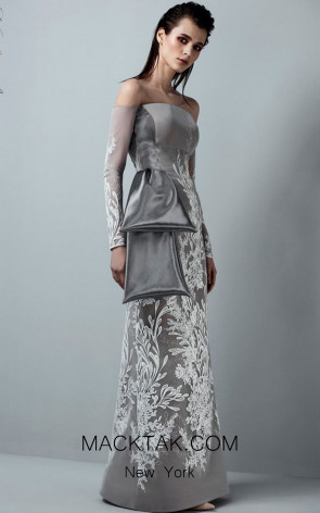 Saiid Kobeisy RE3370 Greige Front Evening Dress