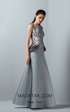Saiid Kobeisy RE3371 Lilac Grey Front Evening Dress