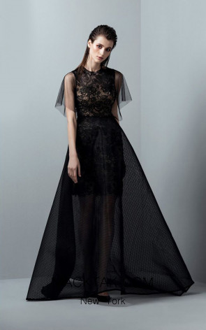 Saiid Kobeisy RE3373 Night Sky Black Front Evening Dress