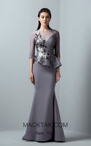 Saiid Kobeisy RE3374 Lilac Grey Front Evening Dress