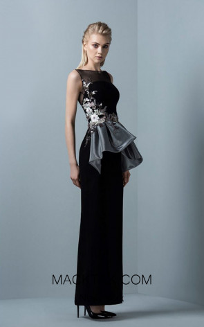 Saiid Kobeisy RE3378 Night Sky Black Front Evening Dress