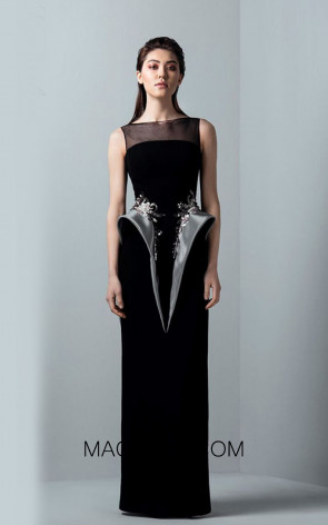 Saiid Kobeisy RE3379 Night Sky Black Front Evening Dress