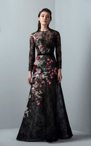 Saiid Kobeisy RE3383 Night Sky Black Front Evening Dress