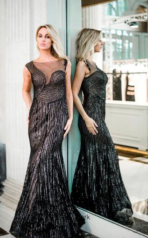 Sana Sabini 9235 Black Nude Front Evening Dress