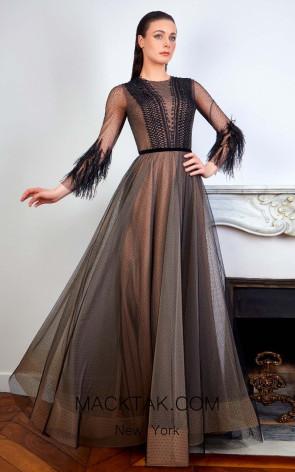 Sana Sabini 9272B Black Nude Front Evening Dress