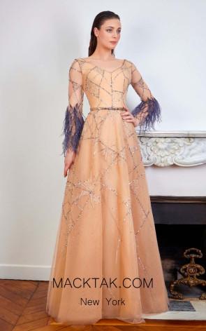 Sana Sabini 9289 Nude Gray Front Evening Dress