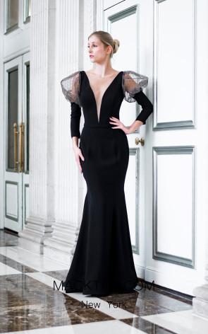 Sana Sabini 9290 Black Front Evening Dress