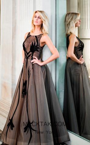 Sana Sabini 9291 Black Nude Front Evening Dress