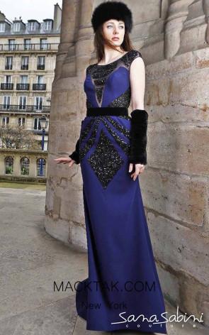 Sana Sabini 9316 Navy Front Evening Dress