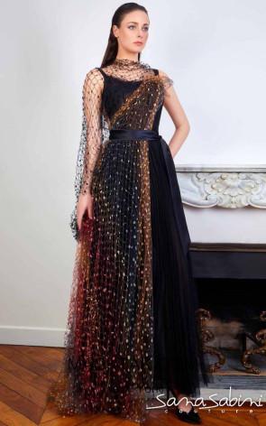 Sana Sabini 9351 Black Front Evening Dress
