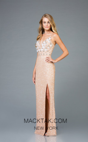 Scala 48963 Mink Silver Front Evening Dress