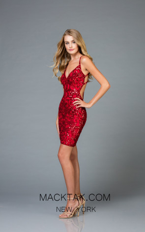 Scala 48891 Red Front Cocktail Dress