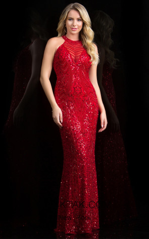Scala 48690 Red Front Evening Dress