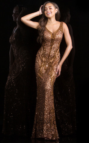 Scala 48721 Copper Front Evening Dress