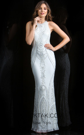 Scala 48793 Ivory Silver Front Evening Dress