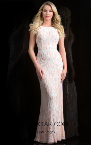 Scala 48824 Blush Front Evening Dress