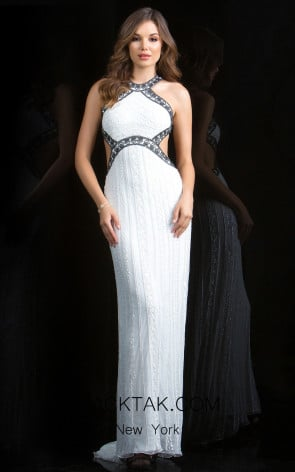 Scala 48826 Ivory Black Front Evening Dress