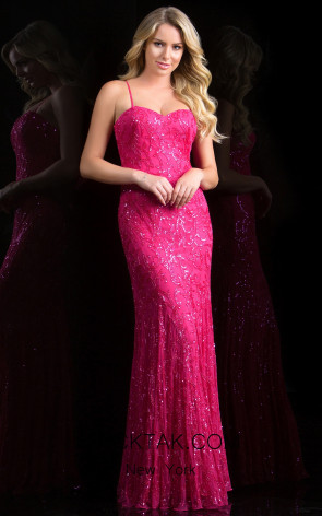 Scala 48836 Fuchsia Front Evening Dress