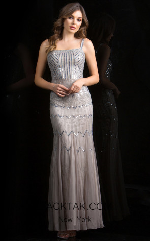 Scala 48842 Lead Silver Front Evening Dress