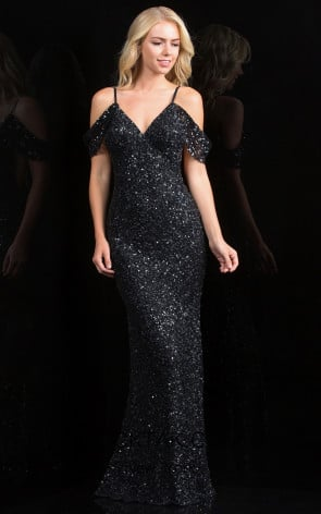 Scala 48860 Black Front Evening Dress