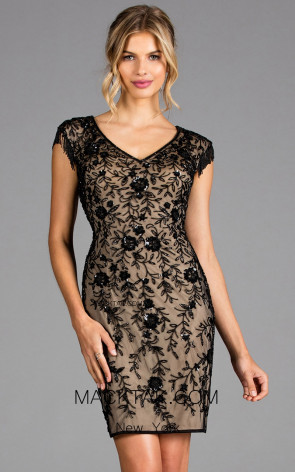 Scala 48909 Black Nude Front Cocktail Dress