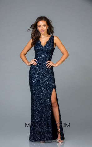 Scala 48933 Midnight Front Evening Dress