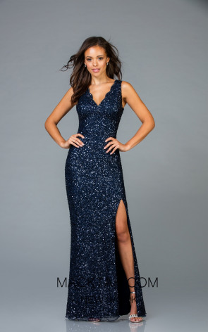 Scala 48933 Midnight Front Evening Dress