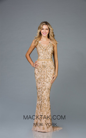 Scala 48936 Mink Gold Front Evening Dress