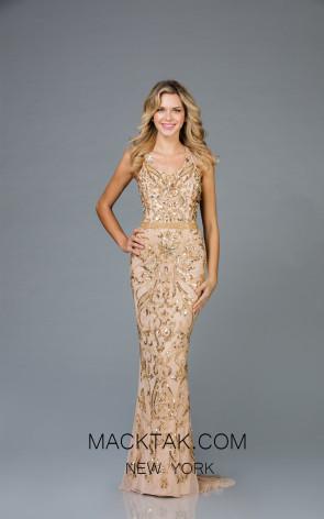 Scala 48936 Mink Gold Front Evening Dress