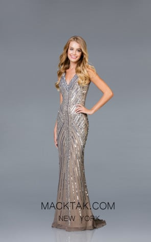 Scala 48937 Lead Silver Front Evening Dress