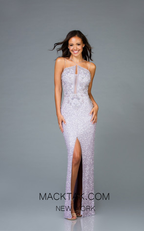 Scala 48940 Lavender Silver Front Evening Dress