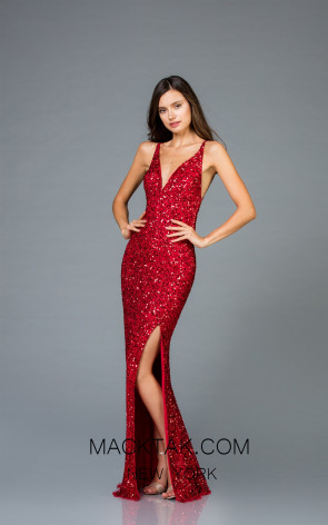 Scala 48949 Red Front Evening Dress