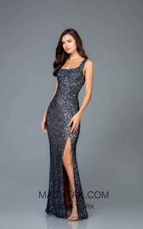 Scala 48961 Navy Nude Front Evening Dress