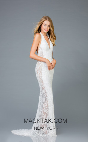 Scala 48959 Ivory Front Evening Dress