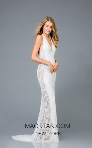 Scala 48959 Ivory Front Evening Dress