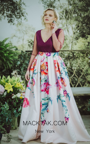 Sinestezic1093 Print Front Evening Dress