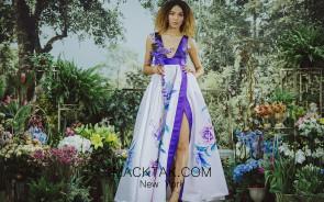 Sinestezic 1608 Print Evening Dress