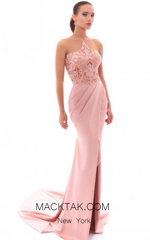 Tarik Ediz 93408 Dusty Rose Front Evening Dress