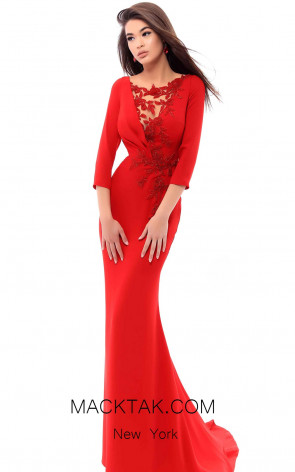 Tarik Ediz 93410 Red Front Evening Dress