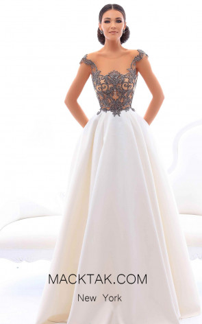 Tarik Ediz 93411 White Front Evening Dress