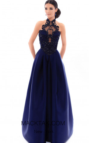 Tarik Ediz 93421 Navy Front Evening Dress