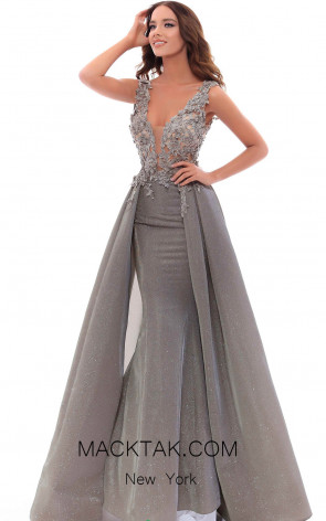 Tarik Ediz 93444 Mink Front Evening Dress