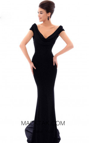 Tarik Ediz 93477 Black Front Evening Dress